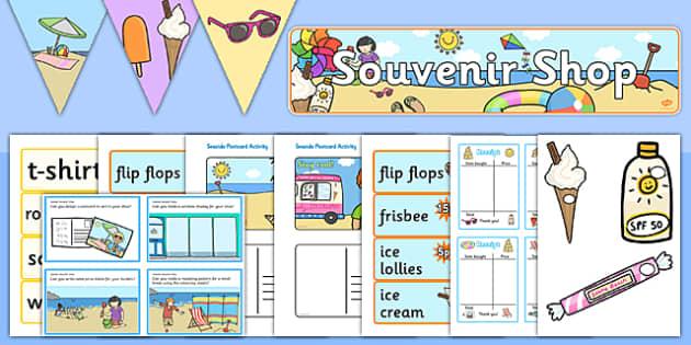 Seaside Souvenir Role Play Pack - Seaside, souvenir, role play, sea, seaside, shop, souvenir, price, prices, sea, seaside, topic, water, tide, waves, sand, beach, sea, sun, holiday, coast