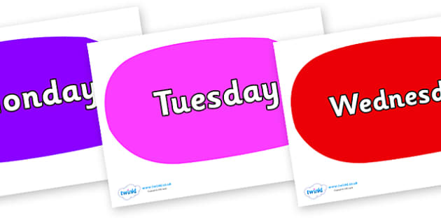 Days of the Week on Speech Bubbles (Multicolour) - Days of the Week, Weeks poster, week, display, poster, frieze, Days, Day, Monday, Tuesday, Wednesday, Thursday, Friday, Saturday, Sunday