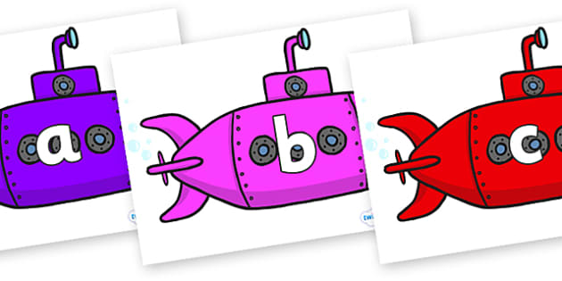 Phase 2 Phonemes on Submarines - Phonemes, phoneme, Phase 2, Phase two, Foundation, Literacy, Letters and Sounds, DfES, display