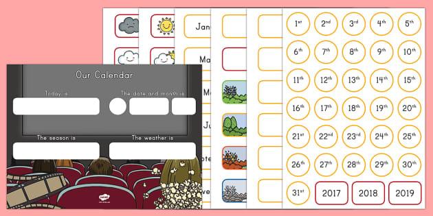 Movie Star Display Calendar - classroom, display, movie, film, cinema, theatre, star, calendar, day, month, weather, theater