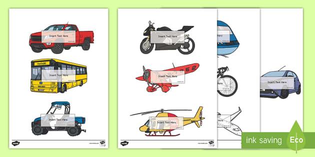 Auto registro editable: Transporte - Transporte, proyecto, coche, avión, tren, bici, bicicleta, helicóptero, camión, coete, furgoneta,