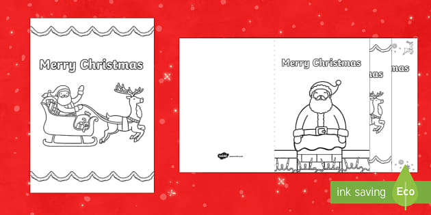 Father Christmas Colour in Greetings Cards