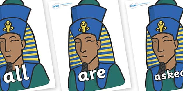 Tricky Words on Pharaohs - Tricky words, DfES Letters and Sounds, Letters and sounds, display, words
