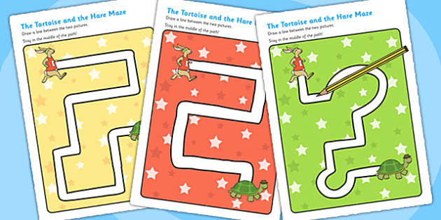 The Tortoise and The Hare Pencil Control Path Worksheets