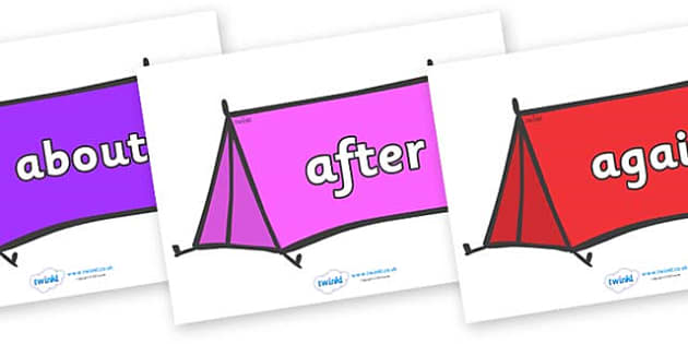 KS1 Keywords on Tents - KS1, CLL, Communication language and literacy, Display, Key words, high frequency words, foundation stage literacy, DfES Letters and Sounds, Letters and Sounds, spelling