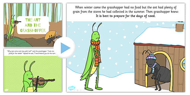 The Ant and the Grasshopper PowerPoint - powerpoint, grasshopper
