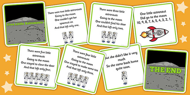 Five Little Astronauts Counting Song Sequencing Cards - sequence, count