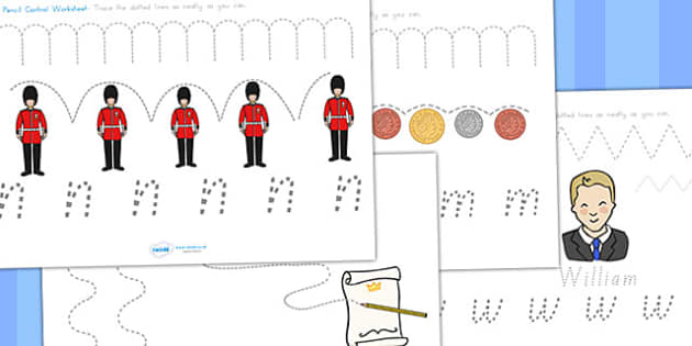 Royal Family Pencil Control Worksheets NSW - fine motor skills