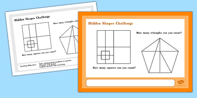 Hidden Shapes Maths Challenge A4 Display Posters - challenge