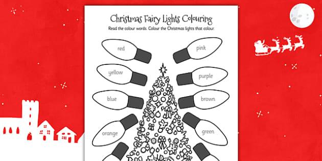 Christmas Fairy Lights Colouring Sheet - christmas, colouring
