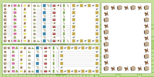 Page Borders to Support Teaching on Dear Zoo - dear zoo, page borders, page, borders, writing frame, animals, story