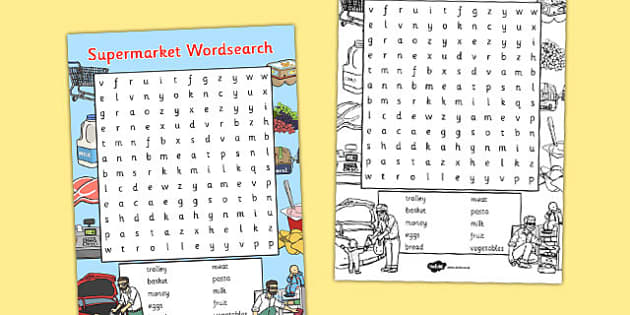 Supermarket Wordsearch - supermarket, wordsearch, words, eal