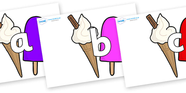 Phoneme Set on Ice Cream and Lollies - Phoneme set, phonemes, phoneme, Letters and Sounds, DfES, display, Phase 1, Phase 2, Phase 3, Phase 5, Foundation, Literacy