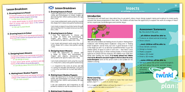 PlanIt - Art LKS2 - Insects Planning Overview CfE - Art, art and design, insects, minibeasts, KS2, year 3, year 4