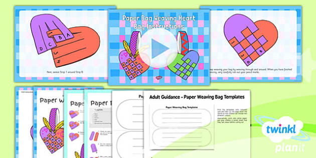 Paper Bag Weaving Instructions Craft Pack - paper bag, weaving, instructions, craft, pack