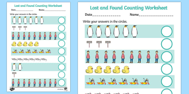 Counting Sheet to Support Teaching on Lost and Found - counting