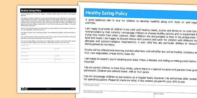 Healthy Eating Policy for Childminders - childminders, policy