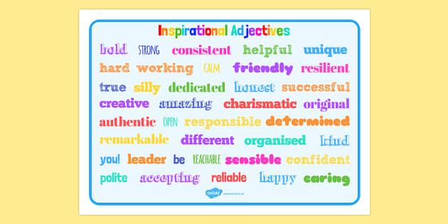 Inspirational Adjective Words Word Mat - inspirational, adjective