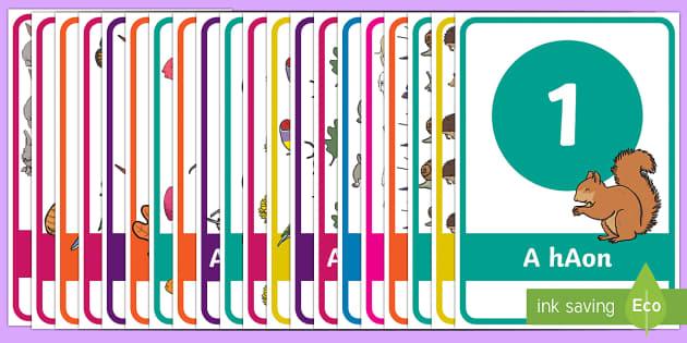Numbers in Irish 1 20 Display Pack - Gaeilge KS1 Display, numbers one to twenty, counting, gaelige, irsh language, eire,Irish