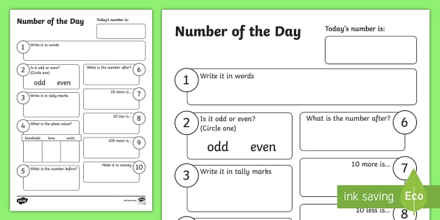 Number of the Day Activity Sheet - New Zealand, Back to School, Worksheet, number, maths, numerals,