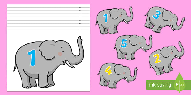 Elephant Number Line Cut-Outs