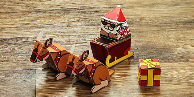 Summer Santa Paper Model Set - australia, summer, santa, paper model, paper, model, set