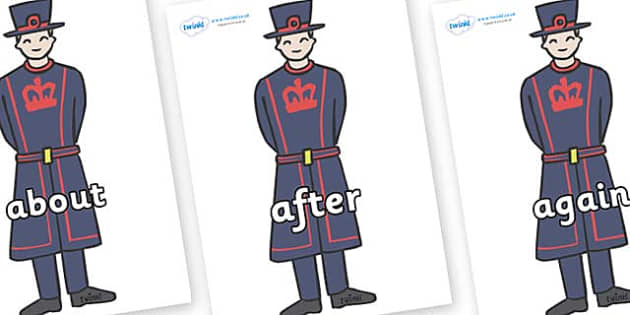 KS1 Keywords on Beefeaters - KS1, CLL, Communication language and literacy, Display, Key words, high frequency words, foundation stage literacy, DfES Letters and Sounds, Letters and Sounds, spelling