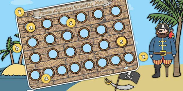Pirate Themed Porthole Alphabet Activity Mat - pirates, a-z