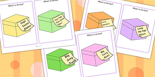 Whats In The Box Drawing Inferences Cards Words Only - inference