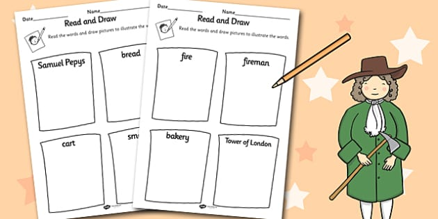 The Great Fire of London Read and Draw Worksheet - Fire, London