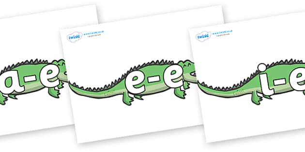 Modifying E Letters on Crocodiles - Modifying E, letters, modify, Phase 5, Phase five, alternative spellings for phonemes, DfES letters and Sounds