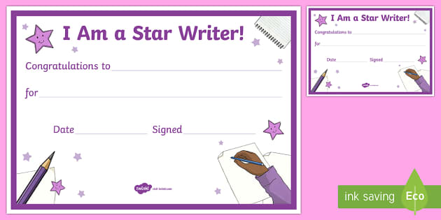 Star Writer Certificate- - CfE Literacy, reading comprehension strategies, star writer, certificate,Scottish