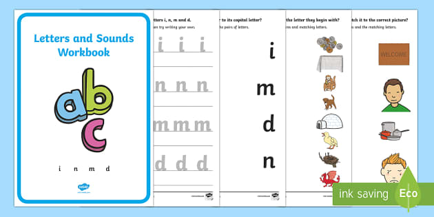 Letters and Sounds Workbook (i, n, m, d) - Letters and Sounds, handwriting, letter formation, workbook, writing practice, foundation, uppercase, letters, writing, learning to write, DFES