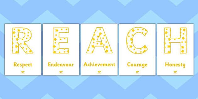 REACH Respect Endeavour Achievement Courage Honesty Lettering