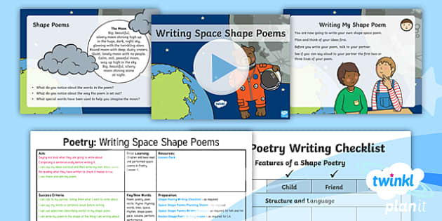 PlanIt Y1 Space: To Support Teaching on Whatever Next! Lesson Pack Poetry (2) - Planit English, Space, Poetry, Performance Poetry, Shape Poems, Rhyming Words, Independent Writing,