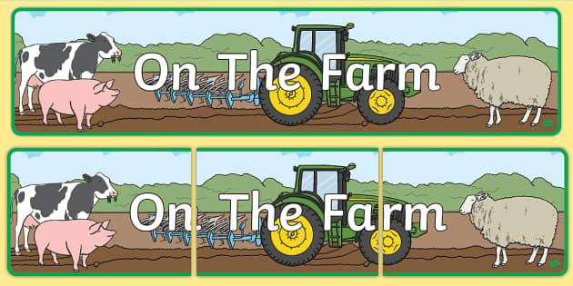 On The Farm Display Banner - Farm display, banner, poster, shop, farm, pig, cow, chicken, goat, tractor, farmer, chicken, goat, sheep, hay, milk, eggs