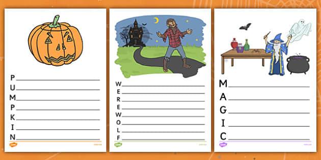Halloween Acrostic Poems - halloween,  acrostic poem, poems, poetry, poem template, acrostic poem templates, acrostic poem writing frame, writing templates