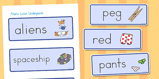 Word Cards to Support Teaching on Aliens Love Underpants - australia, aliens, underpants