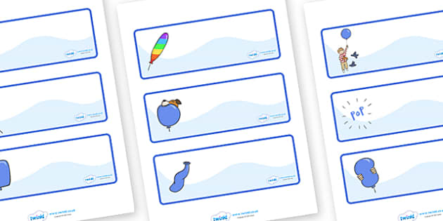 Editable Drawer - Peg - Name Labels to Support Teaching on The Blue Balloon - blue balloon, story, the blue balloon, Mick Inkpen, Resource Labels, Name Labels, Editable Labels, Drawer Labels, flying balloon, soggy balloon, up, story book, story resou