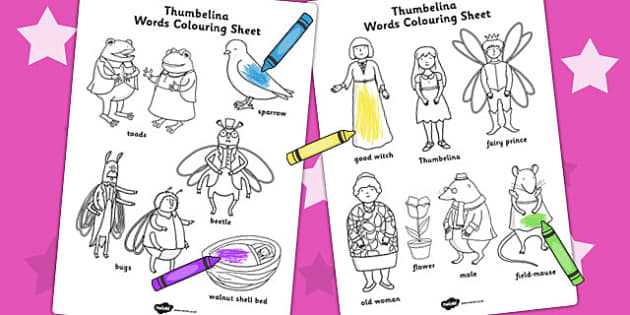 Thumbelina Words Colouring Sheets - colour, colour in, stories