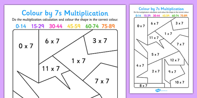 Colour by 7s Multiplication Activity Worksheet - colour, 7s, multiplication, activity, worksheet