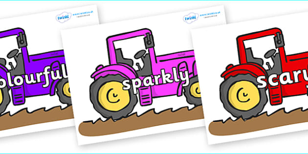 Wow Words on Tractors - Wow words, adjectives, VCOP, describing, Wow, display, poster, wow display, tasty, scary, ugly, beautiful, colourful sharp, bouncy