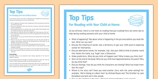 Top Tips Reading with Your Child at Home - top tips, reading, children, home, child