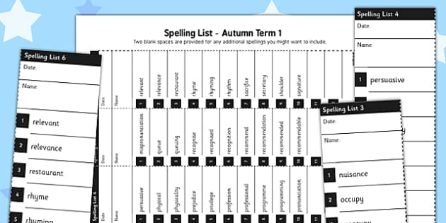 Home Educators Spelling Lists Year 6 Autumn 1 - home, educators, spelling, lists