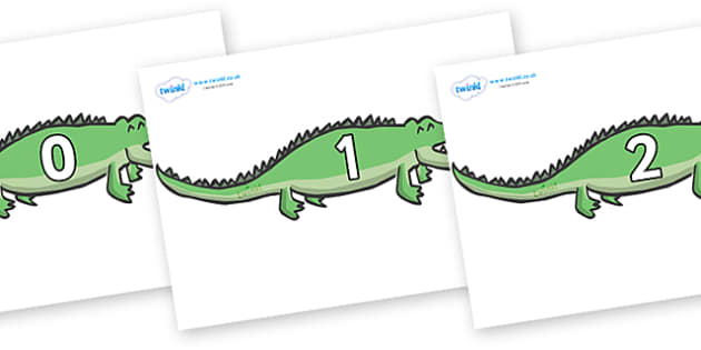 Numbers 0-50 on Crocodiles - 0-50, foundation stage numeracy, Number recognition, Number flashcards, counting, number frieze, Display numbers, number posters