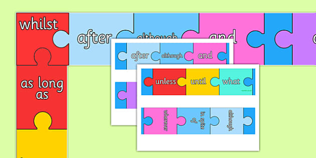 Conjunctions Jigsaw Themed Display Borders - connectives, jigsaw