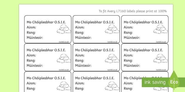 Irish Gaeilge Pupil O.S.I.E. Copybook Labels