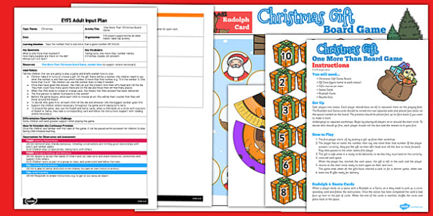 One More Than Christmas Board Game EYFS Adult Input Plan and Resource Pack