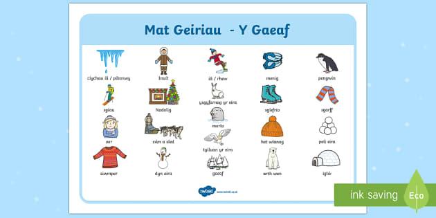 Geiriau Allweddol Y Gaeaf - Y Gaeaf (Winter), Gaeaf, Arddangosfeydd, Tymhorau, Cyfnod Sylfaen.,Welsh