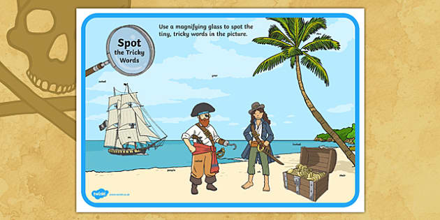 Phase 5 Tricky Words Pirate Ship Scene  Magnifying Glass Activity Sheet, worksheet